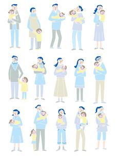 心配顔で子供を抱く親たちのイラスト素材 [FYI01699655]