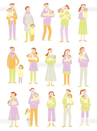 笑顔で子供を抱く親たちのイラスト素材 [FYI01699657]