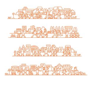 町で暮らす人々のイラスト素材 [FYI01699696]