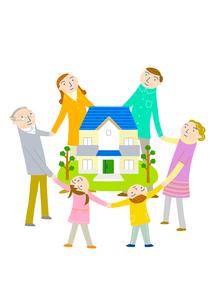 家族の輪で家を囲むのイラスト素材 [FYI01699824]