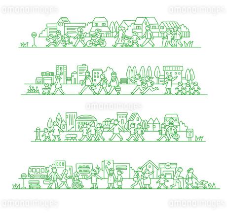 町で暮らす人々のイラスト素材 [FYI01699931]