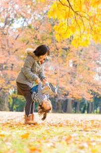 秋の公園で遊ぶ娘と母親の写真素材 [FYI01700638]