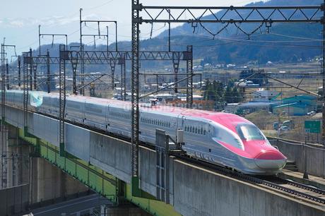 東北新幹線はやてと秋田新幹線スーパーこまちの写真素材 [FYI01701660]