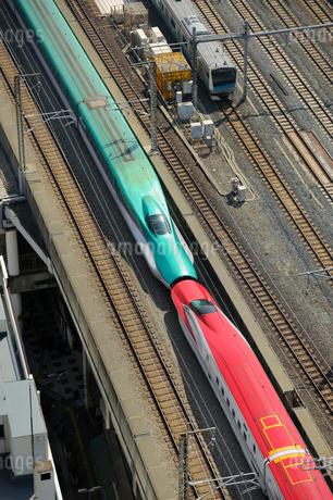 東北新幹線はやてと秋田新幹線スーパーこまちの写真素材 [FYI01701779]