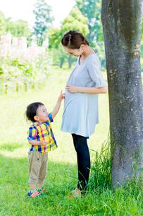 公園で母親の大きいお腹を指差す息子の写真素材 [FYI01703101]