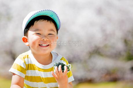 桜の咲く公園でおにぎりを食べる男の子の写真素材 [FYI01703436]