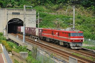 青函トンネルと貨物列車の写真素材 [FYI01703450]