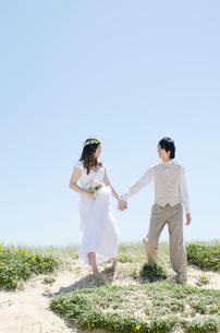 屋外で手を繋ぐウェディングカップルの写真素材 [FYI01703598]
