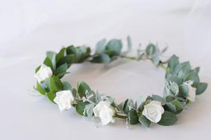 ユーカリの葉を使った花冠の写真素材 [FYI01704019]
