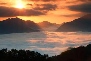 朝陽と雲海の写真素材 [FYI01704482]