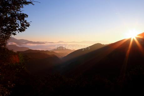 日の出の中で雲海に浮かぶ熊野古道中辺路の山々の写真素材 [FYI01704691]
