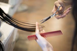 美容室で髪を切っている女性の手元の写真素材 [FYI01704724]