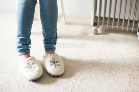 スリッパを履いた女性の足元の写真素材 [FYI01705178]
