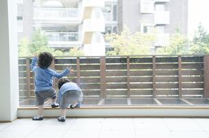 遊んでいる双子の男の子たちの写真素材 [FYI01705216]