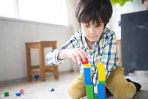 積み木で遊んでいる子供の写真素材 [FYI01705262]