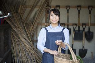 納屋でかごを持っている女性の写真素材 [FYI01705439]