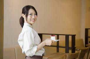 ケーキを持っているカフェの店員の写真素材 [FYI01705576]