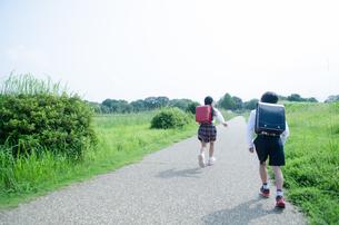ランドセルを背負って走る小学生2人の後ろ姿の写真素材 [FYI01705790]