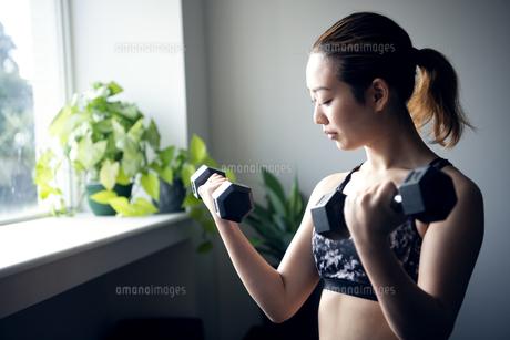 ジムでダンベルを使って筋トレをしている女性の写真素材 [FYI01705880]