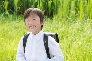 ランドセルを背負って笑う男の子の写真素材 [FYI01705979]