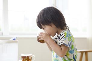 麦茶を飲んでいる男の子の写真素材 [FYI01705991]