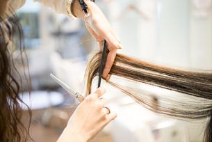 ハサミを持っている美容師の手元の写真素材 [FYI01706218]