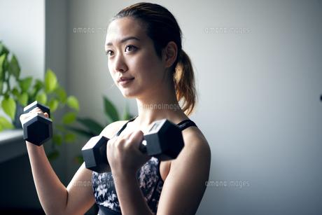 ジムでダンベルを使って筋トレをしている女性の写真素材 [FYI01706266]
