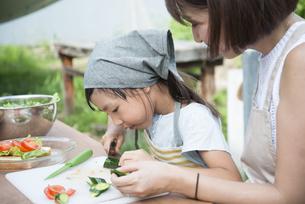 野菜を切っている親子の写真素材 [FYI01706515]
