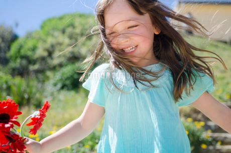 赤いガーベラを持って笑っている女の子の写真素材 [FYI01706934]