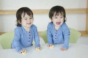 笑っている双子の男の子たちの写真素材 [FYI01707083]