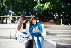 ベンチで本を読んでいる大学生の写真素材 [FYI01707728]