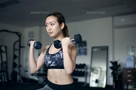 ダンベルで筋トレをしている女性の写真素材 [FYI01707987]