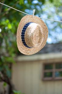 干された麦わら帽子の写真素材 [FYI01708119]