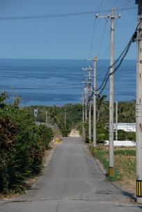 海に向かう田舎道の写真素材 [FYI01709526]