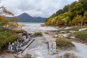 遠くに釜伏山と宇曽利湖を見る紅葉の恐山の写真素材 [FYI01709866]