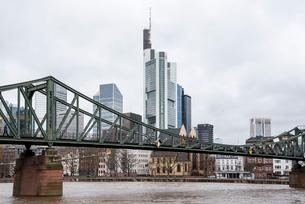 マイン川越しに見る高層ビルが建ち並ぶ欧州経済の中心地の写真素材 [FYI01710031]