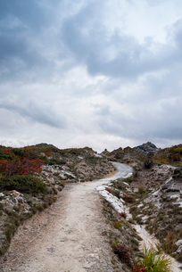暗雲の下の恐山の歩道の写真素材 [FYI01710579]