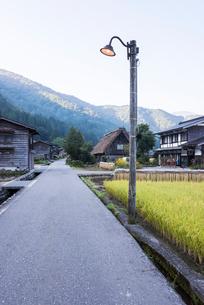 街路灯の立つ田舎の風景の写真素材 [FYI01710683]