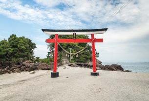 錦江湾を背景に見る荒平天神の写真素材 [FYI01711161]