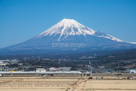 冬の富士山と新幹線の写真素材 [FYI01711163]