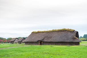 三内丸山遺跡大型竪穴式住居と高床式建物を見る風景の写真素材 [FYI01711306]