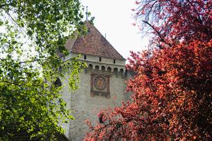 スイス シオン城 時計台の写真素材 [FYI01711539]