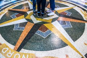 ウンベルト1世ガッレリア中央床面の大理石モザイク装飾の写真素材 [FYI01712423]