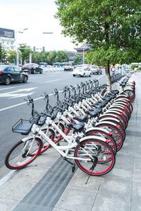 道路沿いの歩道に並ぶレンタル自転車の写真素材 [FYI01712668]