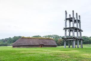 三内丸山遺跡大型竪穴式住居と六本柱建物を見る風景の写真素材 [FYI01712770]