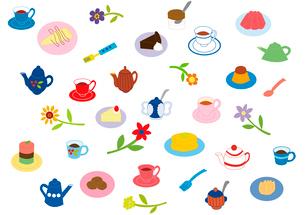 いろいろなスイーツとお茶とお花のイラスト素材 [FYI01713116]