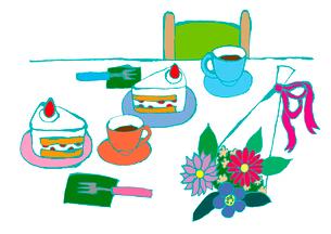 ケーキ、お茶、花束。のイラスト素材 [FYI01713132]