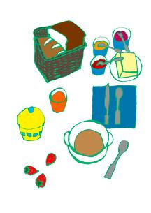 カフェオレ、パン、いちご、朝食。のイラスト素材 [FYI01713152]
