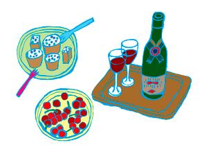 ワイン、ケーキ、さくらんぼ。のイラスト素材 [FYI01713153]