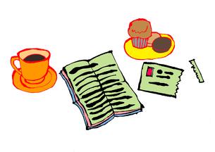 手紙、お菓子、コーヒー。のイラスト素材 [FYI01713169]